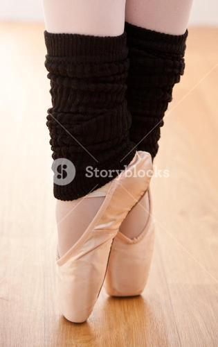 Close up of a gifted ballerina on tiptoe