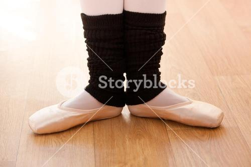 Close up of the feet of a talented ballerina dancing