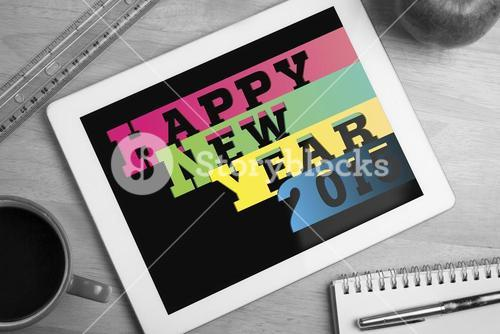 Composite image of colourful happy new year