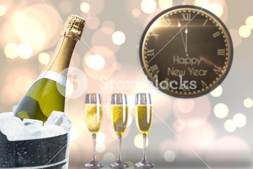 Composite image of black and gold new year message