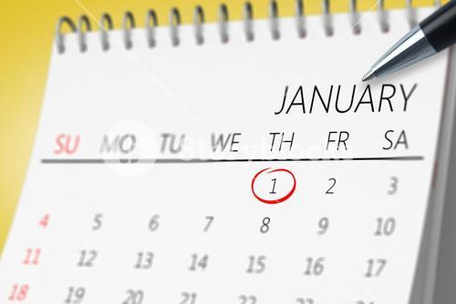 Composite image of january on calendar