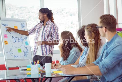Students looking at white board
