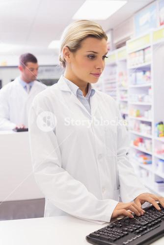 Concentrate pharmacist using computer