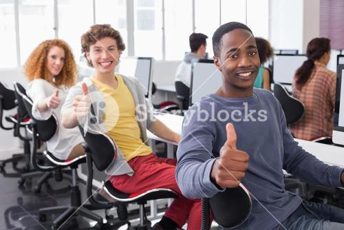 Students working in computer room