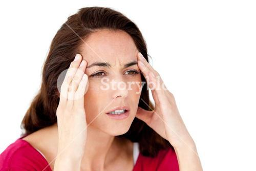 Sick woman having a headache