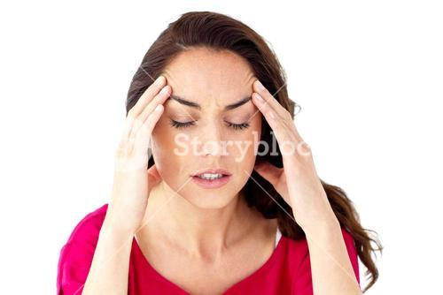Depressed woman having a headache