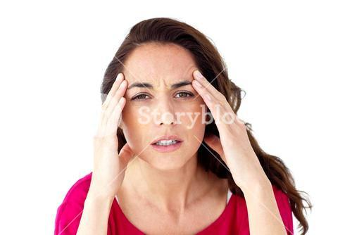 Ill woman having a headache