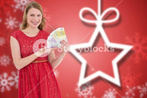 Composite image of pretty blonde in red dress showing her cash