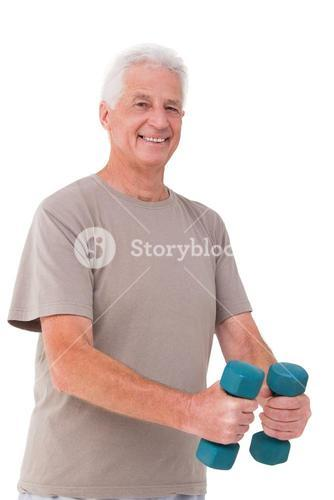 Senior man lifting hand weights