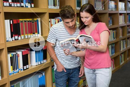 Students reading together in the library