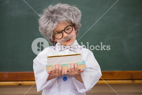 Dressed up pupil holding books