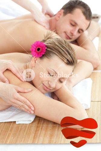 Composite image of adorable couple having a massage
