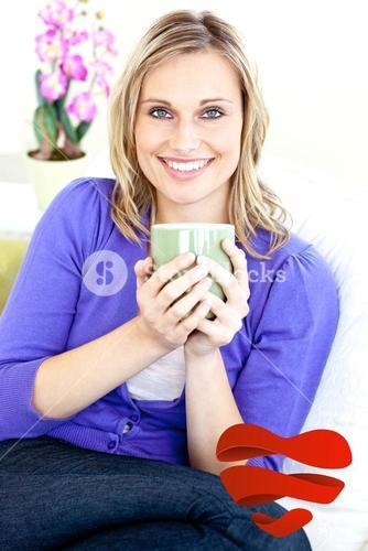 Composite image of blond woman enjoying her coffee sitting on the sofa in the livingroom