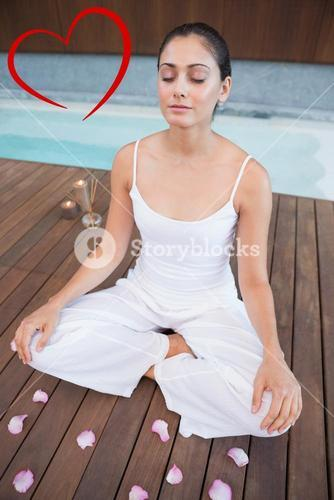 Composite image of peaceful brunette in white sitting in lotus pose surrounded by petals