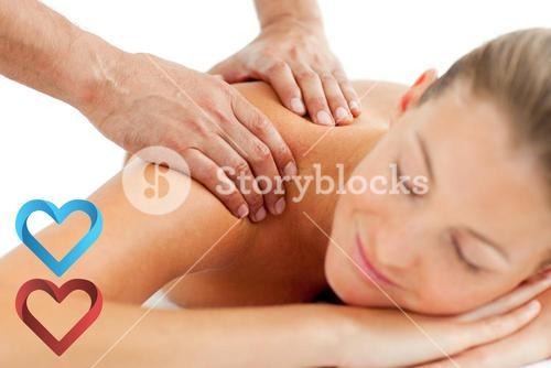 Composite image of serene woman enjoying a massage