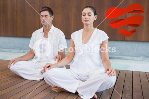 Composite image of attractive couple in white sitting in lotus pose