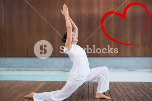 Composite image of content brunette in white doing tai chi
