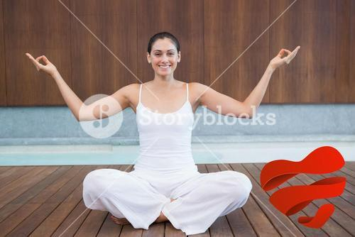 Composite image of peaceful happy woman in white sitting in lotus pose
