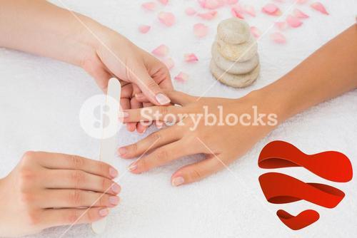 Composite image of nail technician filing customers nails