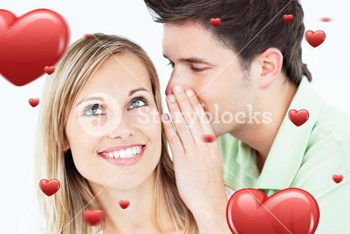 Composite image of young man whispering something to his attentive female friend
