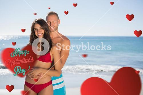 Composite image of loving couple embracing one another
