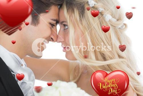 Composite image of happy young married couple looking each other in the face