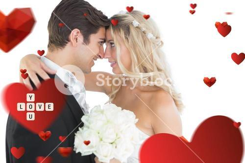 Composite image of beautiful young married couple looking each other in the face