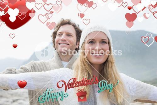 Composite image of casual young couple stretching hands out outdoors