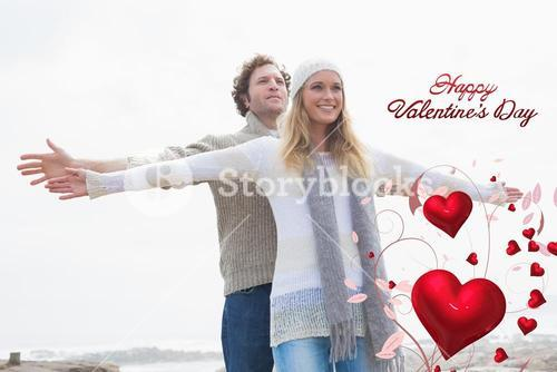 Composite image of happy casual young couple stretching hands out
