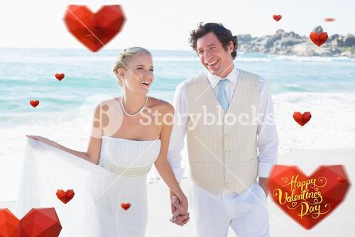Composite image of newlyweds walking hand in hand and laughing