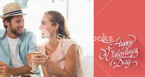 Composite image of happy couple enjoying coffee and cake