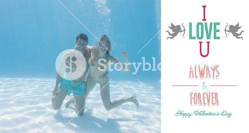 Composite image of cute couple smiling at camera underwater in the swimming pool