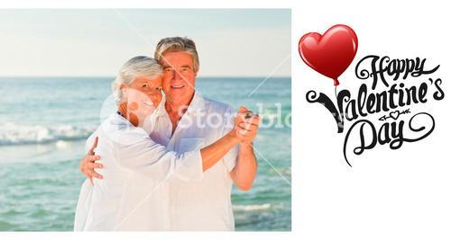 Composite image of mature couple dancing on the beach