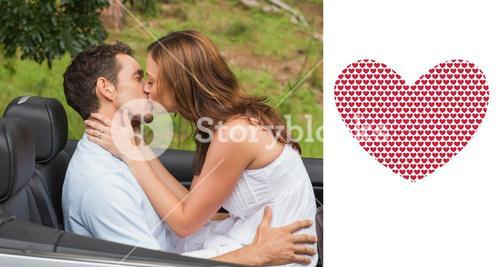 Composite image of beautiful couple kissing in back seat