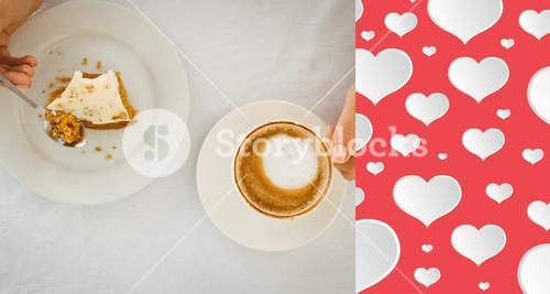 Composite image of woman having cake and coffee