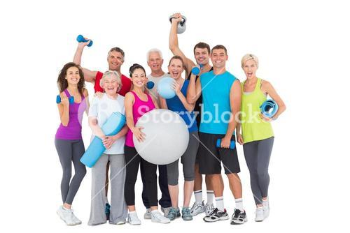 Happy people with exercise equipment