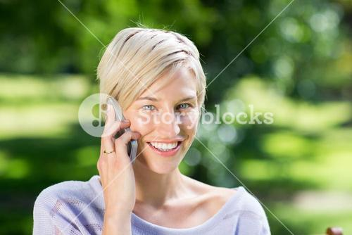 Pretty blonde on the phone