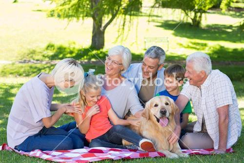 Happy family talking in the park