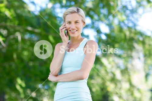Pretty blonde at the phone