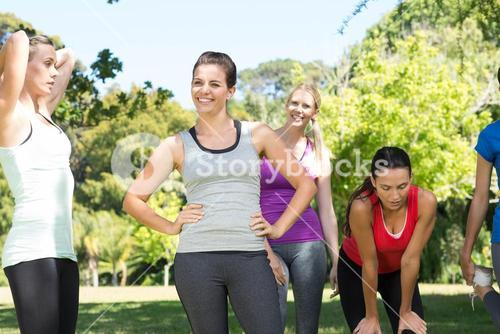 Fitness group after jogging in the park