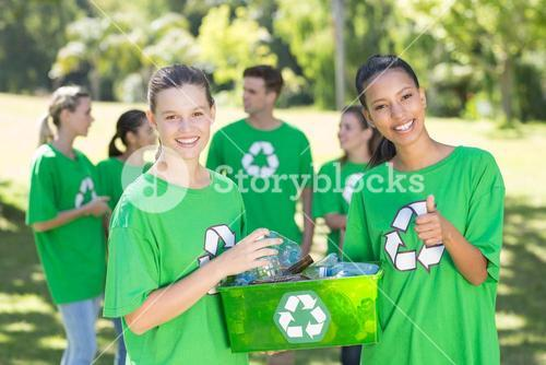 Happy environmental activists in the park