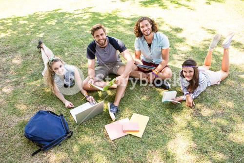 Classmates revising together on campus