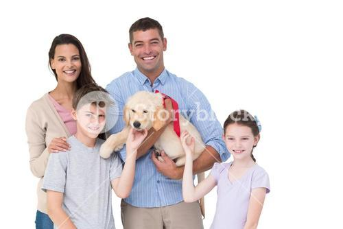 Happy parent and children with dog
