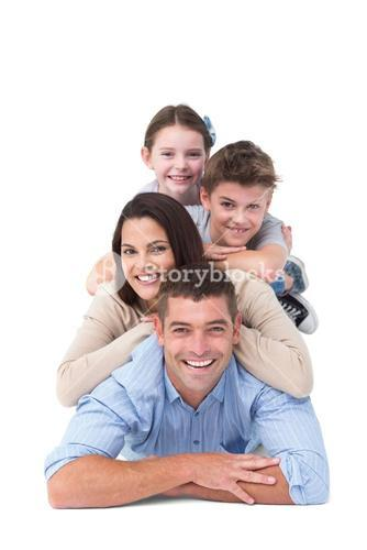 Family lying on top of each other