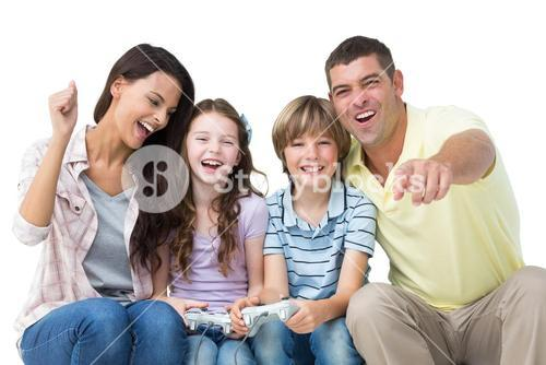 Happy family playing video game