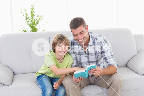 Father and son with story book sitting on sofa