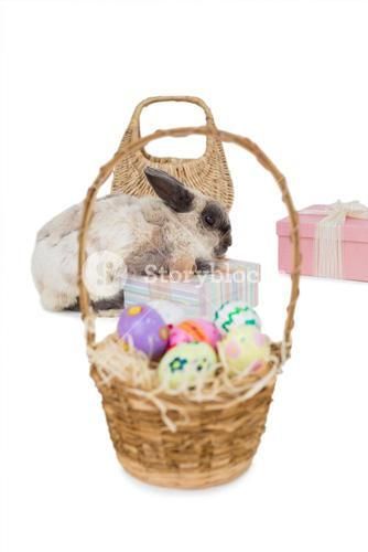 Easter bunny with gift boxes and wicker basket