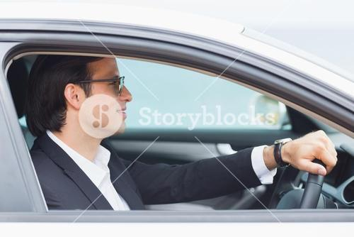 Happy driving businessman