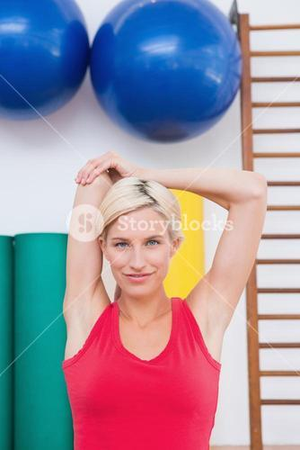 Blonde woman working out