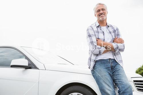 Man leaning on the bonnet
